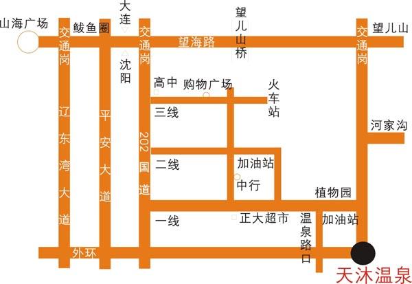 熊岳天沐温泉地图